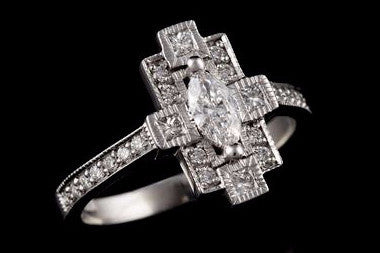 Art Deco Diamante Ring