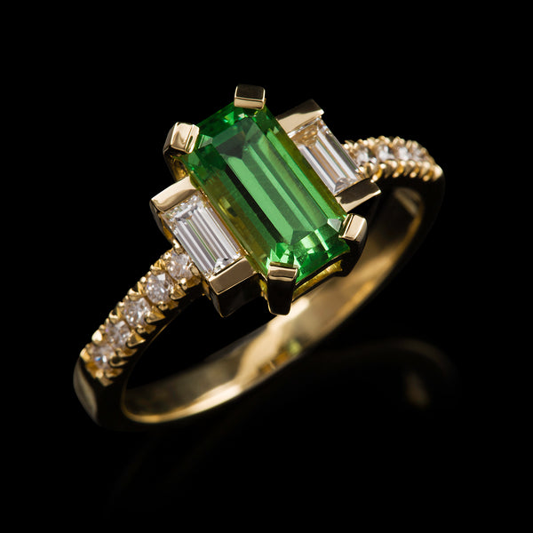 Vintage Tsavorite & Diamante Ring