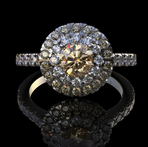 Multi-Colour Halo Diamond Ring