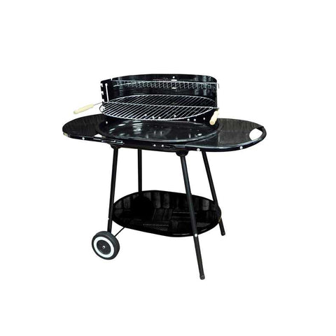 Large Charcoal Oval Steel Trolley BBQ | Garden Barbecue Grill | Side Tables and Bottom Shelf