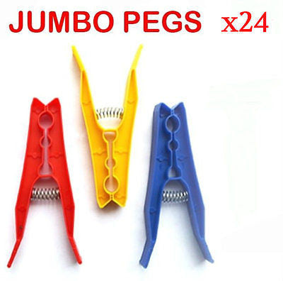 24 Plastic Spring Loaded Washing Line Clothes Pegs