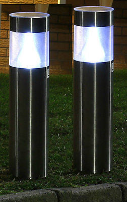 2 X ROUND STAINLESS STEEL SOLAR POWER LED GARDEN POST LIGHTS RECHARGEABLE  LAMPS ...