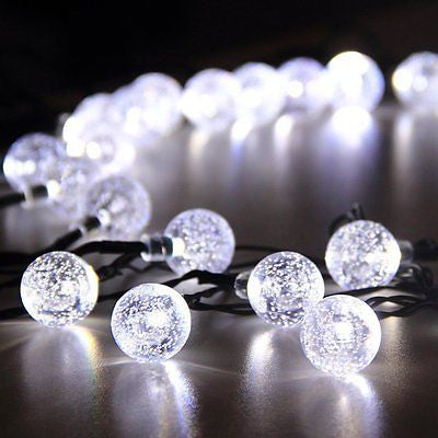 30 Fairy Crystal Ball White LED Hanging Garden Lights Solar Power String Lights