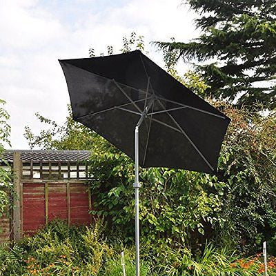 2m Aluminium Parasol Garden Patio Lightweight Umbrella Wind Up Tilt Cream/Black