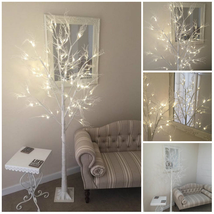 SHABBY CHIC 96 LED LARGE 6FT 180cm WHITE GLITTER PRE LIT CHRISTMAS ...