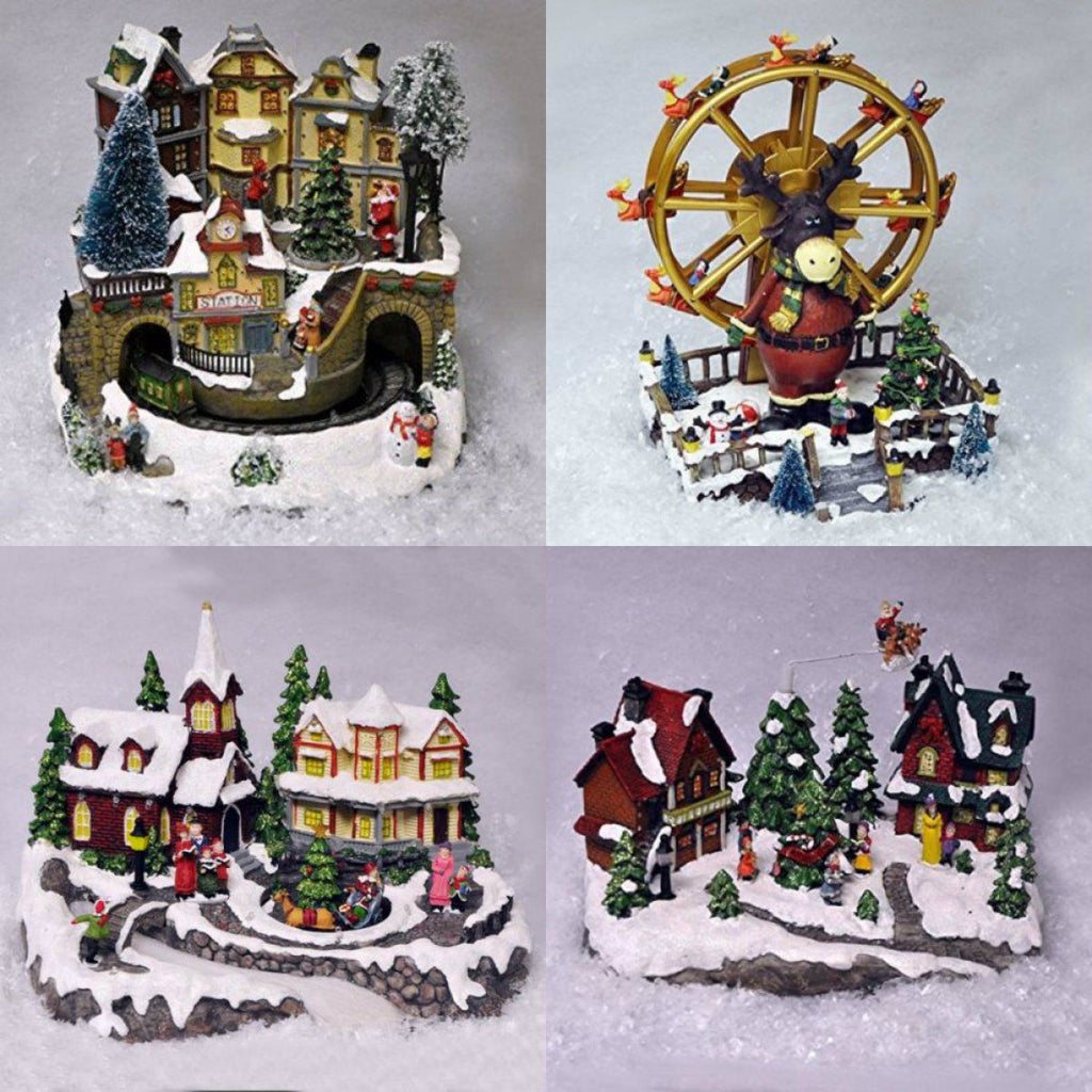 miniature christmas village nativity scene ornaments musical led xmas decoration - Miniature Christmas Town Decorations