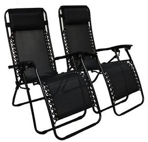 2 x Black Heavy Duty Textoline Zero Gravity Lounger Chairs