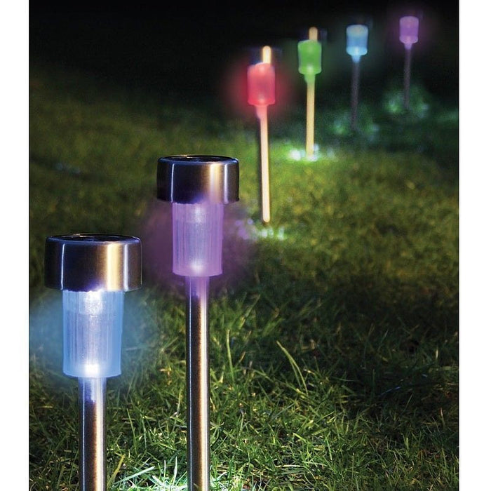 Attractive Set Of 10 Solar Powered Stainless Steel Coloured LED Garden Stake Lights  Border Or Pathway Lighting ...