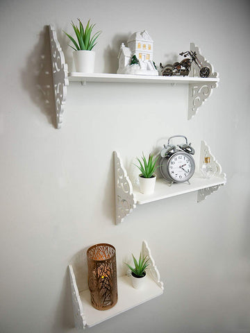 Set of 3 Ornate Decorative Wall Shelves | Floating Wall Mounted Shelving