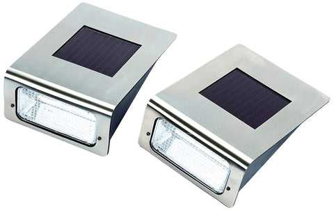 2 X Silver Solar Power Wall Mounted Light