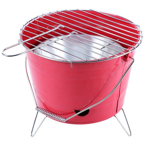 Portable Bucket BBQ | Retro Red | Camping & Festivals