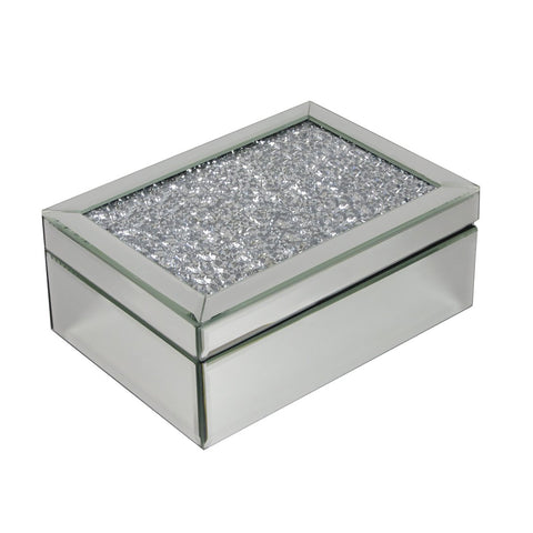 Crushed Diamond Mirrored Diamante Jewellery Box