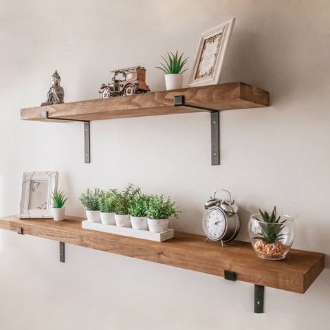Rustic Wooden Wall Mountable Shelf with Black Brackets