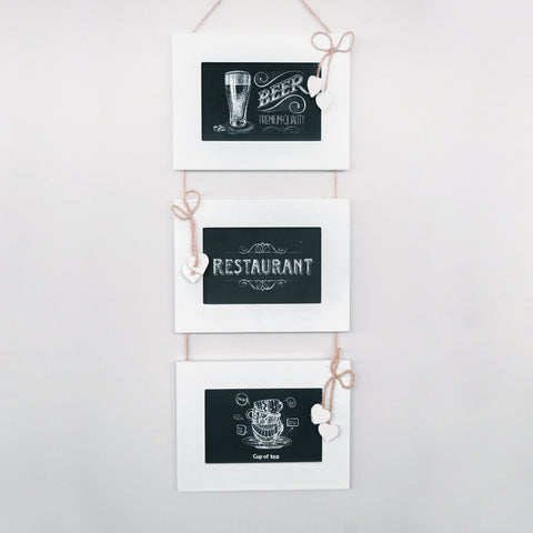 3 Frame Chalkboards | Hanging White Frames and Jute String | To Do List