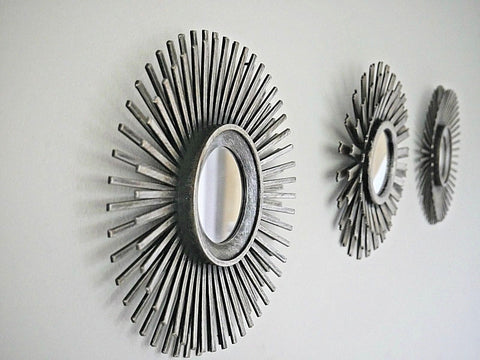 Set of 3 Silver Sunburst Effect Mirrors