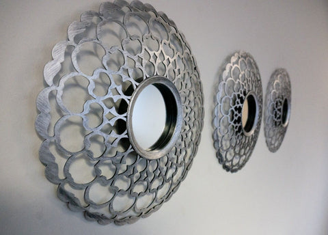 Set of 3 Silver Decorative Mirrors