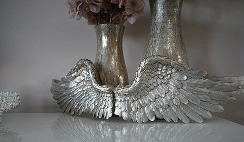 Pair of Ornate Silver Angel Wings
