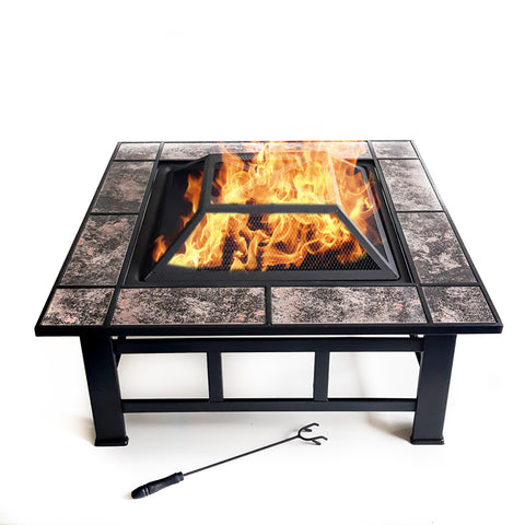 Large Square Garden Fire Pit | Patio Heater with Fire Poker | Garden Party