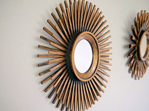 Set of 3 Bronze Sunburst Effect Ornate Mirrors