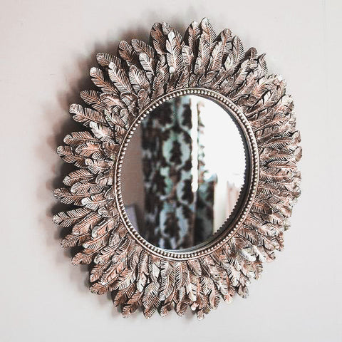 Wall Mounted Antique Silver Feather Mirror