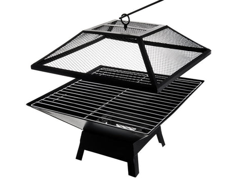 Large Square Metal Outdoor Fire Pit | Charcoal BBQ | Summer Garden Patio Grill & Heater