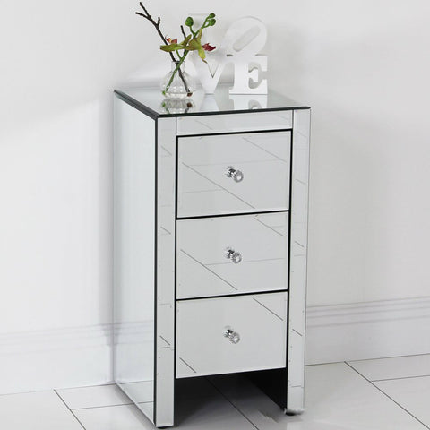 Mirrored Glass Bedside Table cabinet 3 Drawers