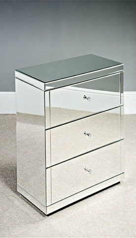 Large Mirrored Glass Bedside Table cabinet 3 Drawers