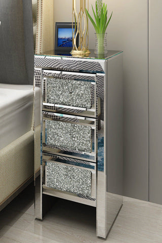 Diamante Glitter Mirrored Glass Bedside Table cabinet 3 Drawers