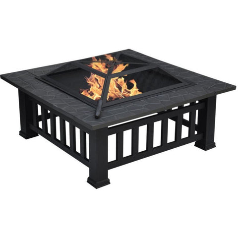 Large Square Garden Fire Pit | BBQ Grill | Table Patio Heater