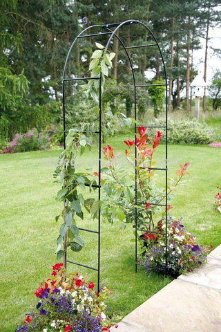 SELF ASSEMBLY BLACK GARDEN METAL ARCH FOR CLIMBING PLANTS ROSES GARDEN TRELLIS