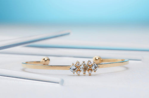 Aquamarine Cuff-Diamond bracelet, Bracelet, Gold bracelet, Bangle, Gold bangle, Diamond bangle-TOR Pure Jewelry