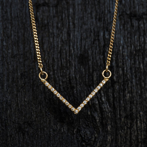 Small V Diamond Necklace-Necklace-TOR Pure Jewelry