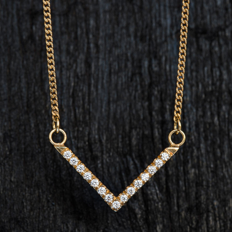 Large V Diamond Necklace-Necklace-TOR Pure Jewelry