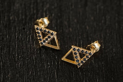 Triangle Diamond Earrings-Earrings-TOR Pure Jewelry