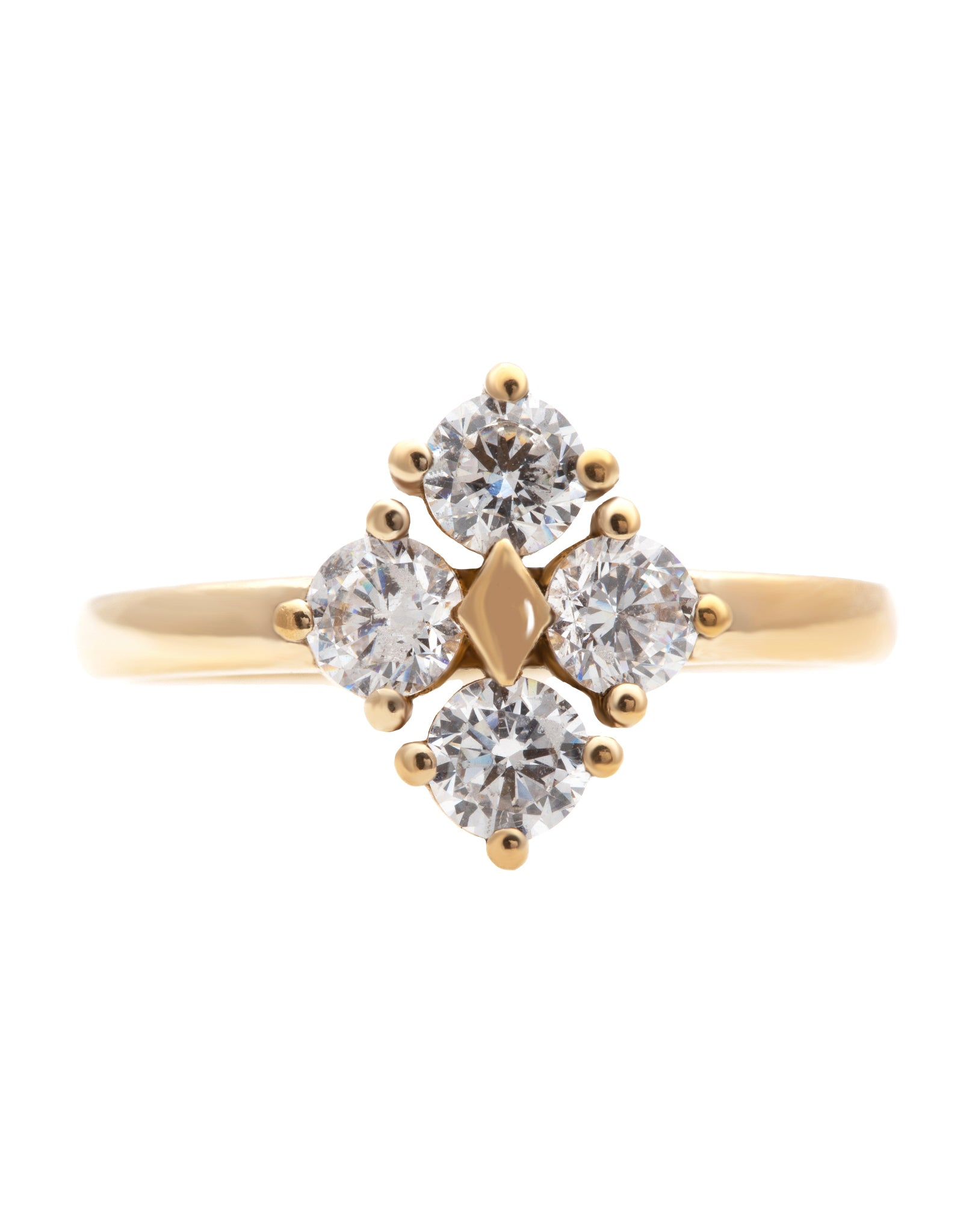 Star Dust Kite Shaped Ring with Lab Created Diamonds