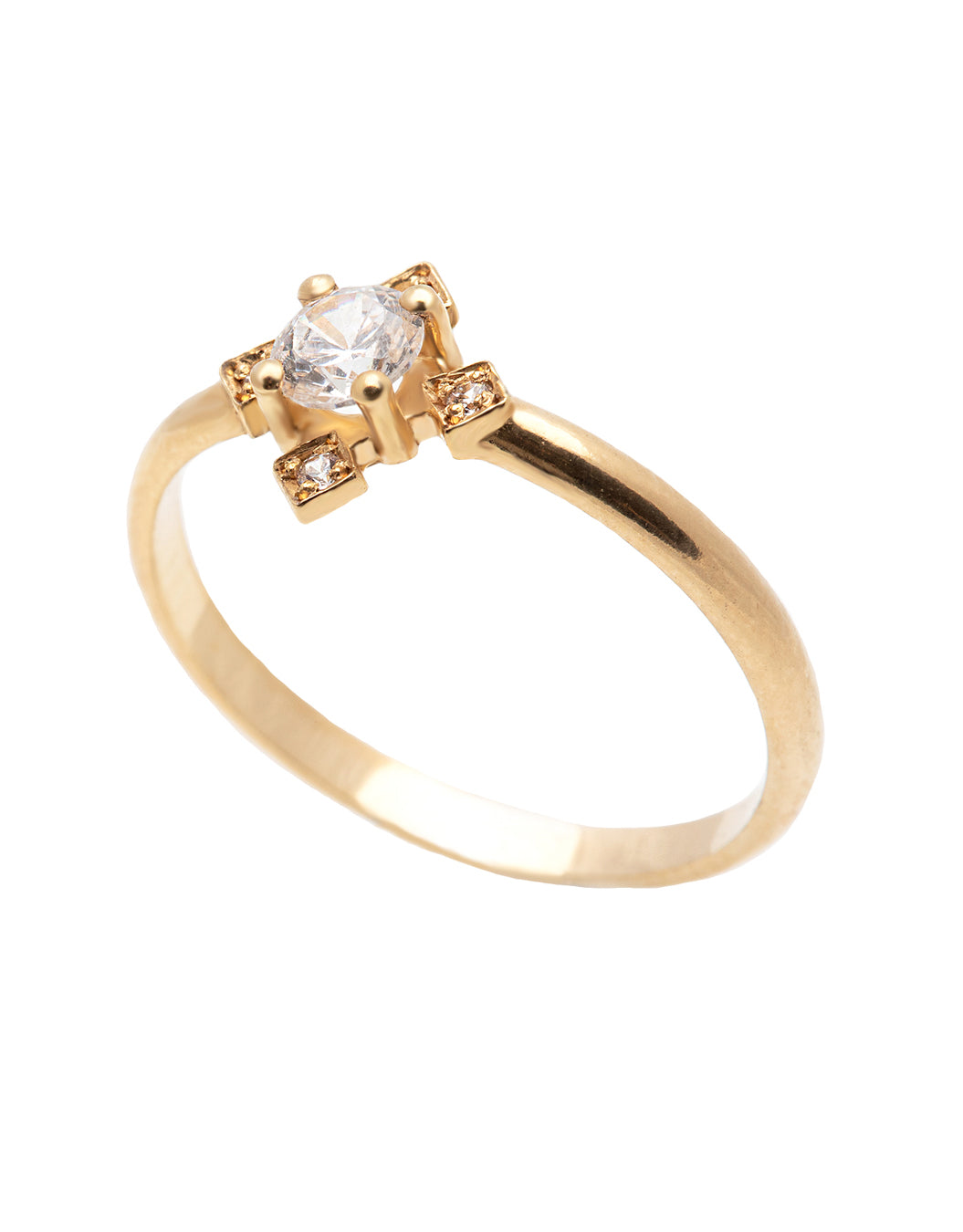 A 14k yellow gold engagement ring in the shape of a geometric clover, set with a center 0.25 carat brilliant cut white diamond, and four 0.01 carat brilliant cut white diamonds.