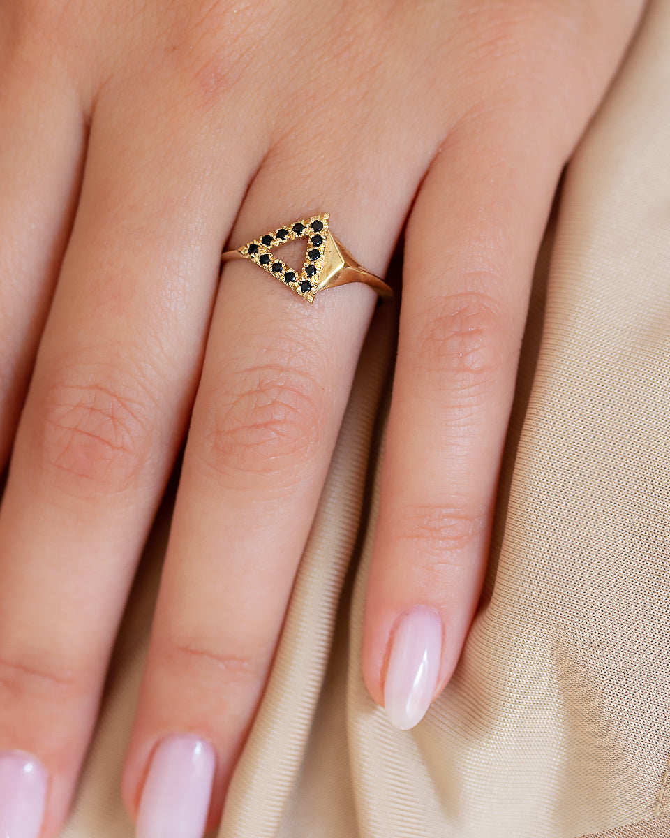Triangles Black Diamonds Ring