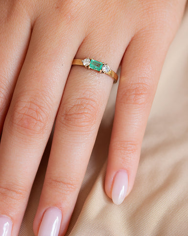 Emeralds Diamond Ring
