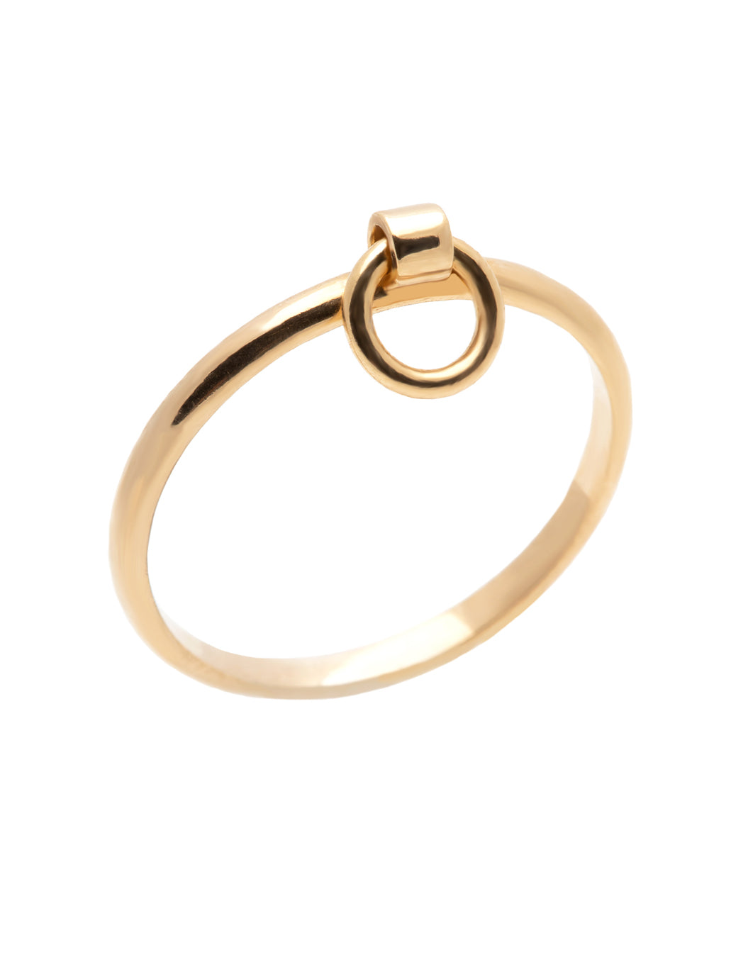 A dainty 14k yellow gold ring, with a hanging hoop.