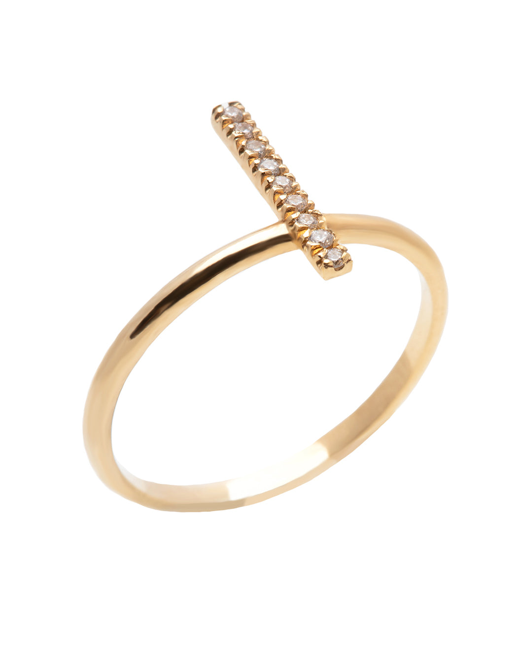 A dainty 14k yellow gold ring, with a vertical bar on top, set with nine tiny white diamonds.