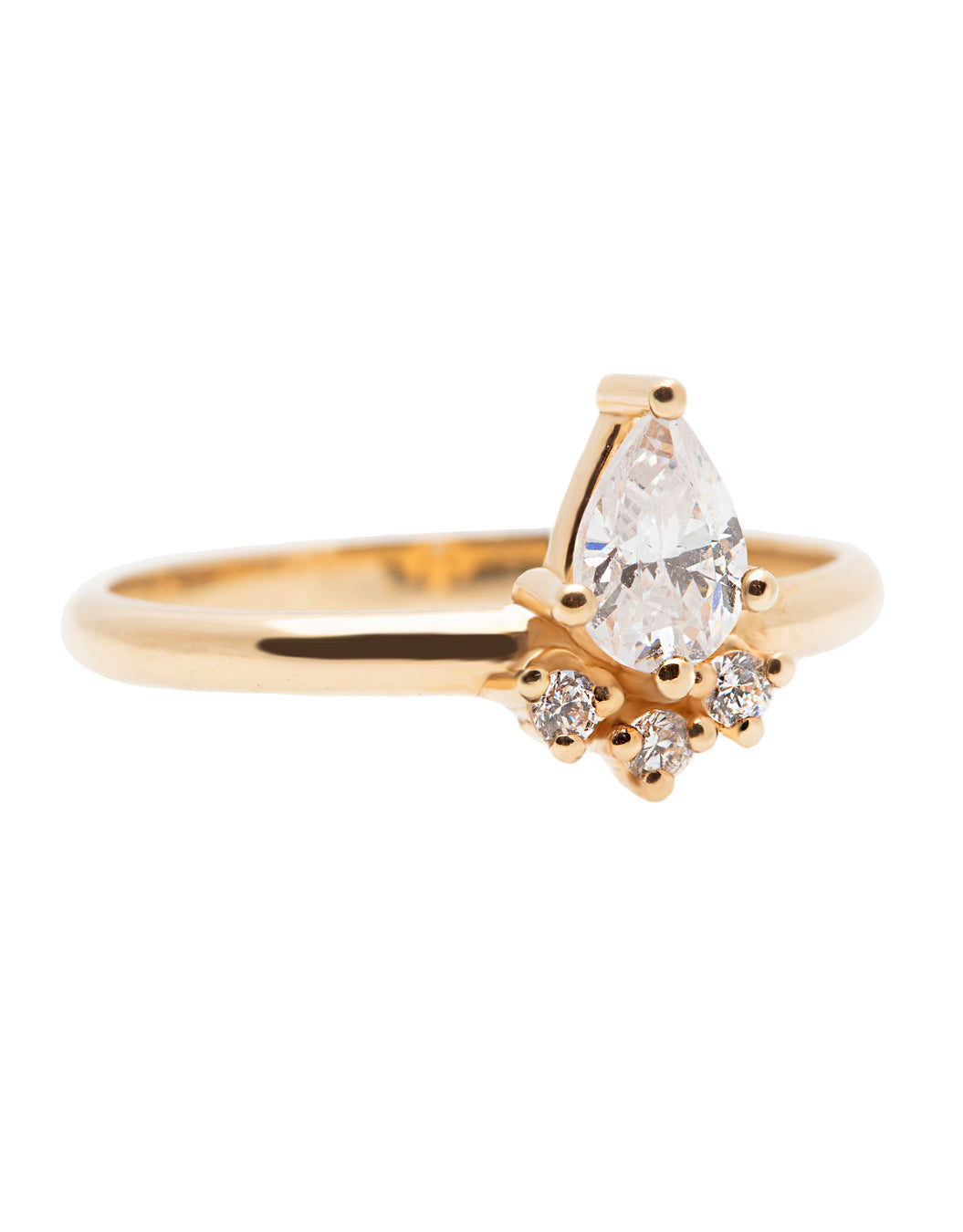 A 14k yellow gold engagement ring, set with a center pear cut white diamond and and halo of three small white diamonds.