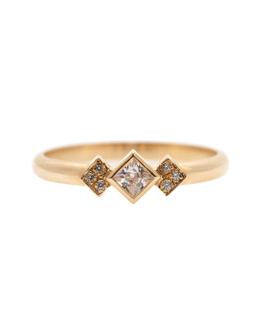Squares Diamond Ring with a Lab Created Diamond
