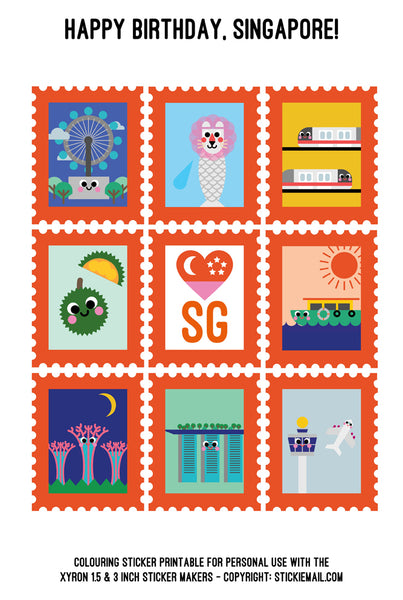 Stickiemail's Happy Birthday Singapore! Colouring Stickers