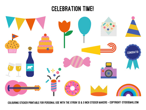 Stickiemail's Let's Celebrate! Colouring Stickers