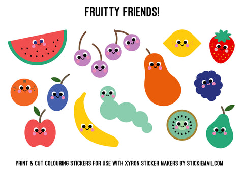 Stickiemail's Fruity Friends Free Printable