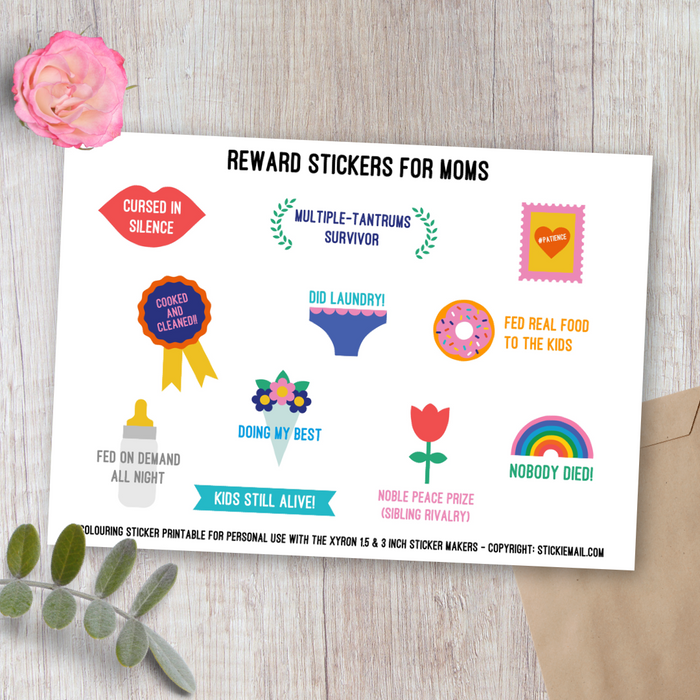 Moms' Reward Stickers (2017) - Colouring Printable