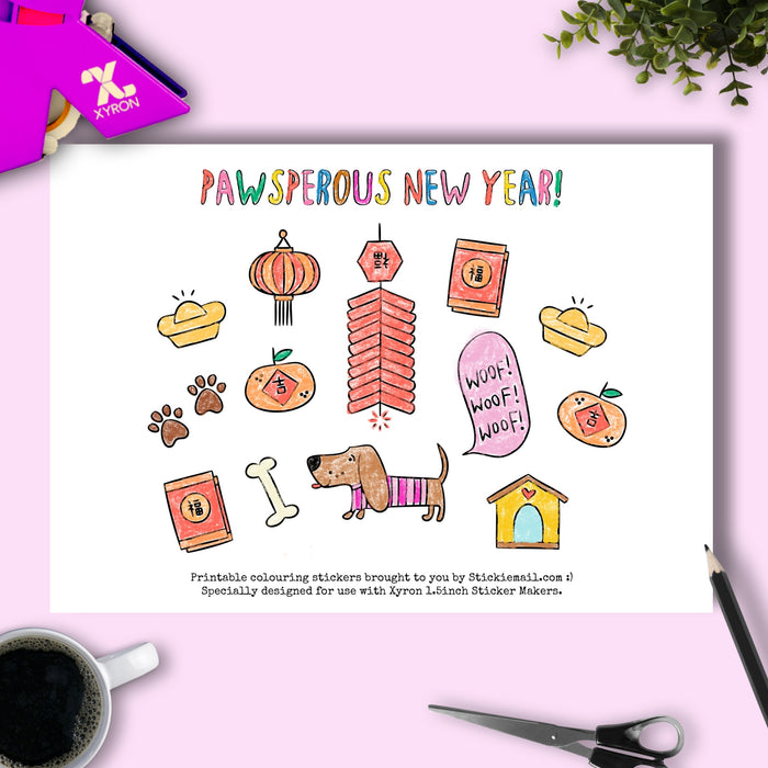 Pawsperous New Year! (2018) - Colouring Printable