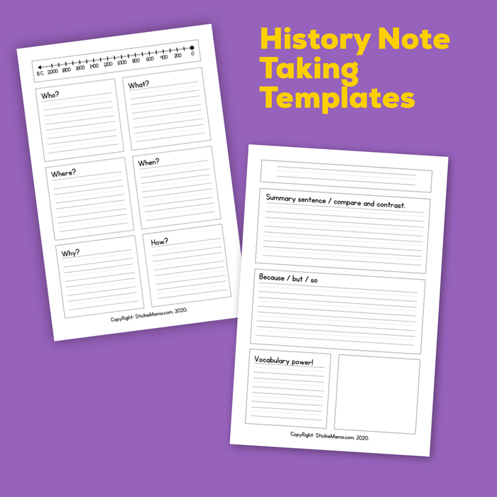 History Note-Taking Templates For Home-Learning - History Printables, by Stickiemama