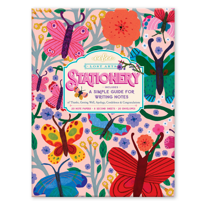 Butterflies Stationery Set with Letter-Writing Guide, by eeBoo