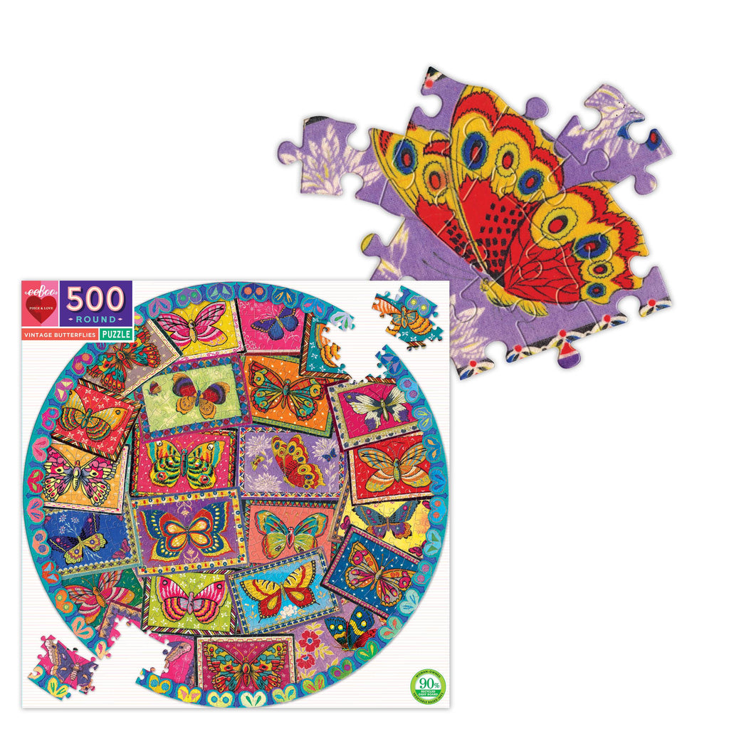 Vintage Butterflies 500 Piece Round Puzzle, by eeBoo